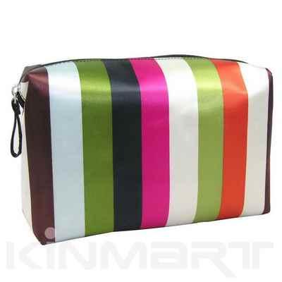 Monogram Stripe Patterned Cosmetic Bag
