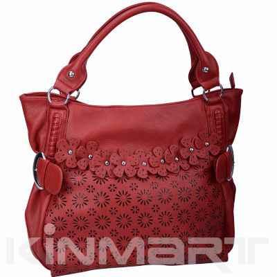 hollowed-out PU leather handbag