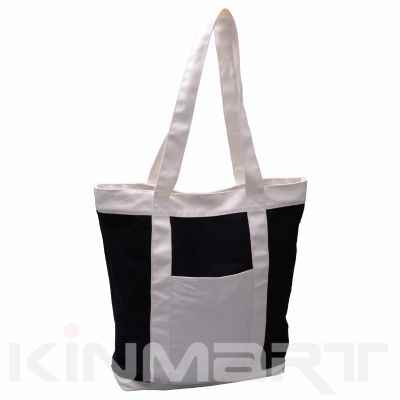 Canvas Tote With Front Pocket Monogram