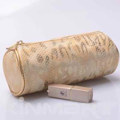 Monogrammed Snake Skin Cosmetic Bag