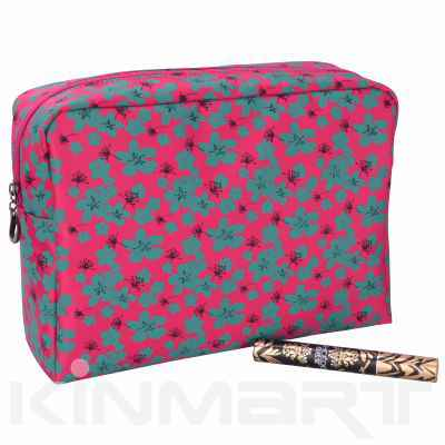 Large Floral Cosmetic Bag Personalizable