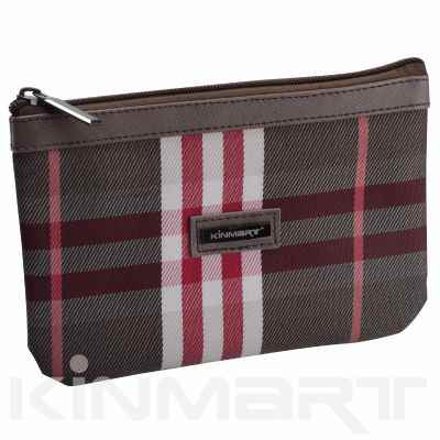 Personalized Checked Cosmetic Pouch