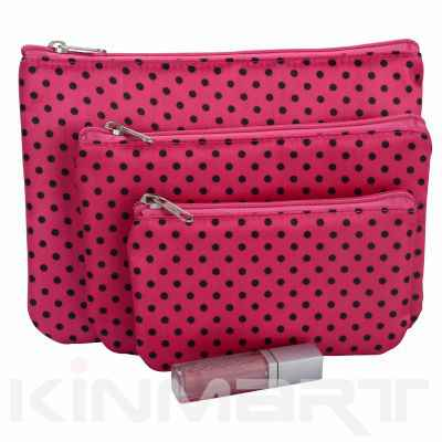Polka Dots Cosmetic Bag 3PC Set