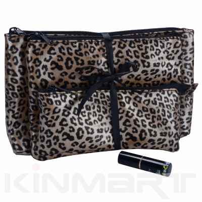Leopard Print Cosmetic Bag 3PC Set