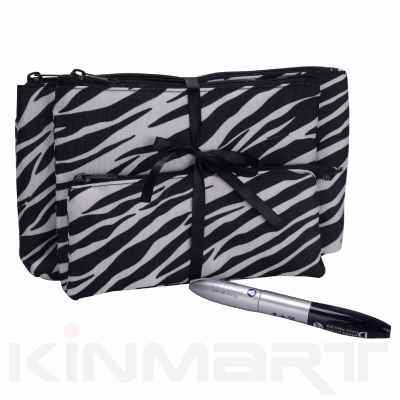 Zebra Print Cosmetic Bag 3PC Set
