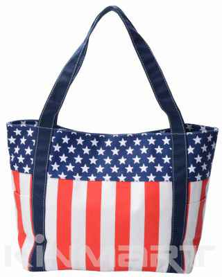Monogrammed USA Flag Canvas Tote