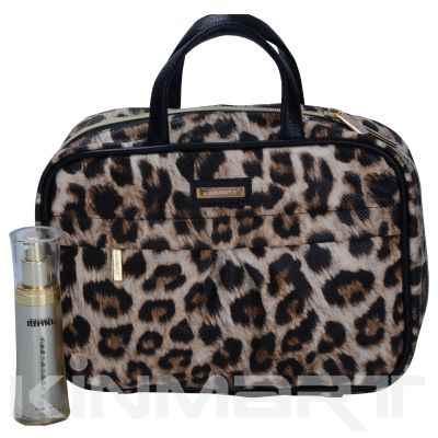 Monogrammed Leopard-print Cosmetic Handbag