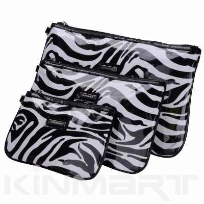 Boxy PVC Zebra Print Cosmetic Bags 3 pc Set