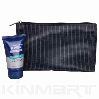 Nylon Check Cosmetic Pouch