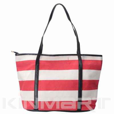 Monogrammed Striped Heavy Duty Canvas Shopping Bag