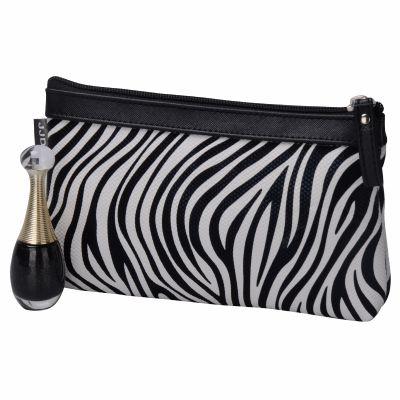 Luxury Zebra-Stripe Cosmetic Bag Personalized