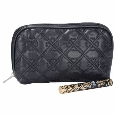PU Leather Quilted Makeup Bag with Heart Pattern