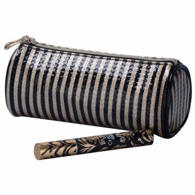 Stripe Cylinder Cosmetic Bag Monogrammed