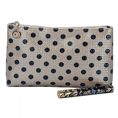 Monogrammed Polka Dots Glam Cosmetic Bag