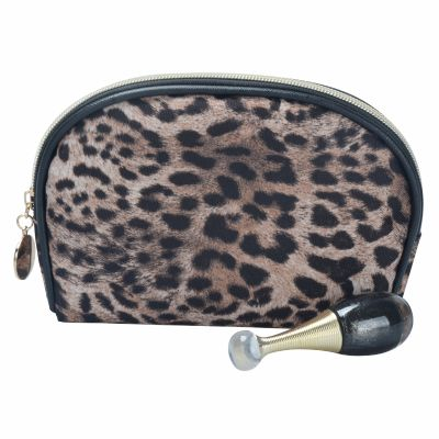 Monogram Leopard Printing Cosmetic Pouch