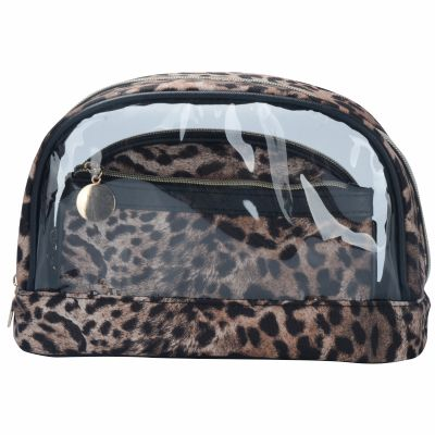 Leopard Skin Pattern Printing Makeup Bag 3PC SET