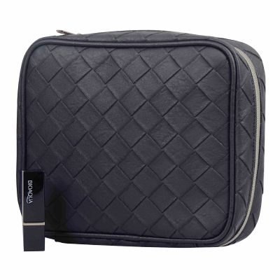 High Quality Embossed Woven Pattern PU Men Travel Toiletry Bag Personalized