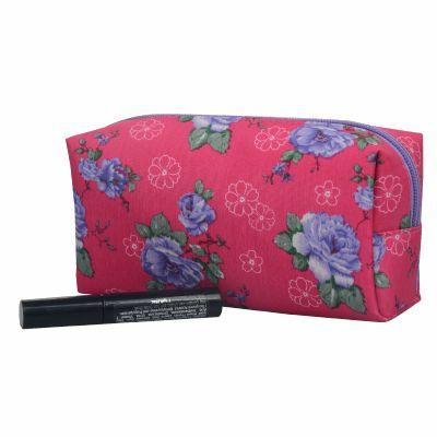 Monogrammed Floral Retangular Makeup Pouch