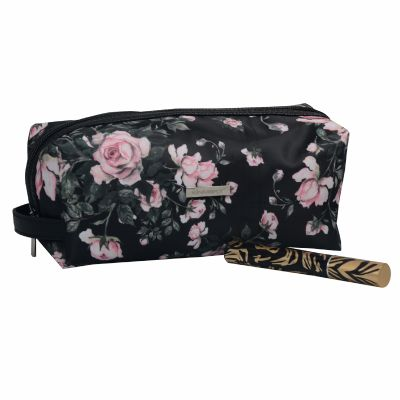 Monogrammed Floral Cosmetic Gift Bag