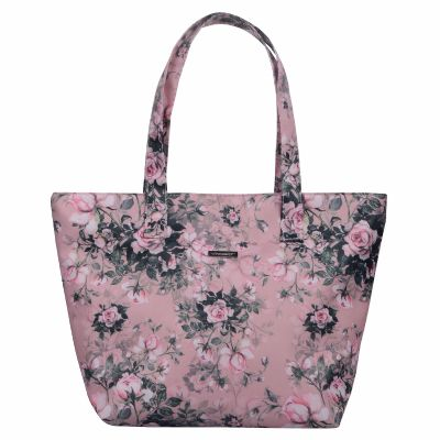 Tote Bag with Monogrammed Rose Pattern