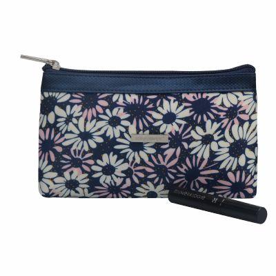 Monogrammed Chrysanthemum Pattern Cosmetic Bag