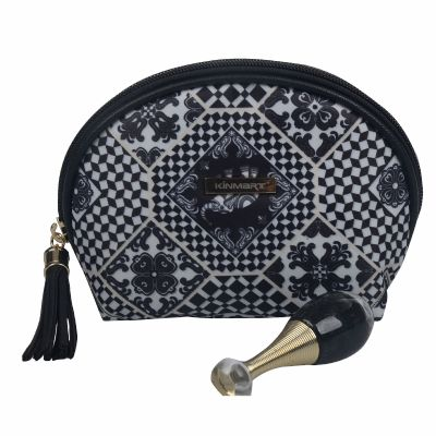 Personalised Semi-Circle Cosmetic Bag with Decorative Zipper Pull