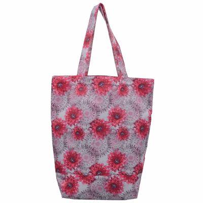 Monogrammed Flora Print Tote Bag