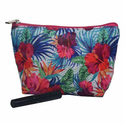 Monogrammed Hibiscus Floral Makeup Bag