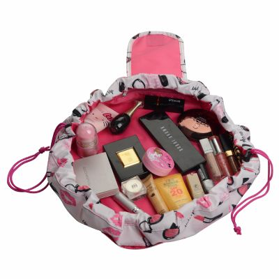 Drawastring Easy n Go Makeup Pouch with Lipstick Pattern