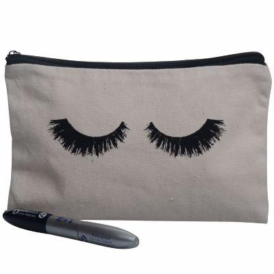 Canvas Eye Brow Print Makeup Pouch