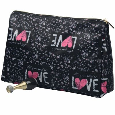 Super Soft Nylon Toiletry Pouch Monogrammed with Love Pattern