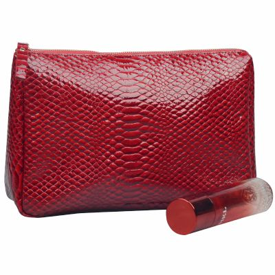 Snake Skin PU Leather Toiletry Bag