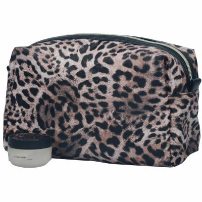 Monogrammed Leopard Skin Cosmetic Pouch