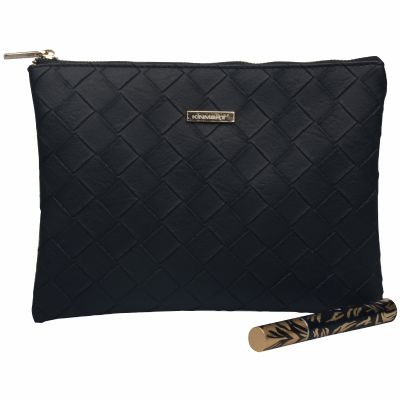 Woven Style PU Leather Cosmetic Clutch Bag