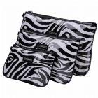 Boxy PVC Zebra Print Cosmetic Bags 3 pc Set