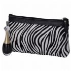 Luxury Zebra-Stripe Cosmetic Bag