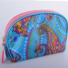 Semi Round Monogrammed Print Cosmetic Pouch