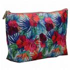 Monogrammed Hibiscus Imprint Cosmetic Bag