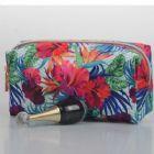 Monogrammed Floral Retangular Makeup Bag