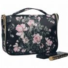 Floral Imprint Quality Nylon Hanging Travel Toiletry Bag with Hanger